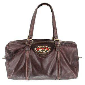 GUCCI Leather Large Britt Boston Brown Handbag